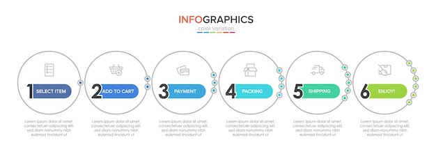 Sjabloon voor het winkelen infographics