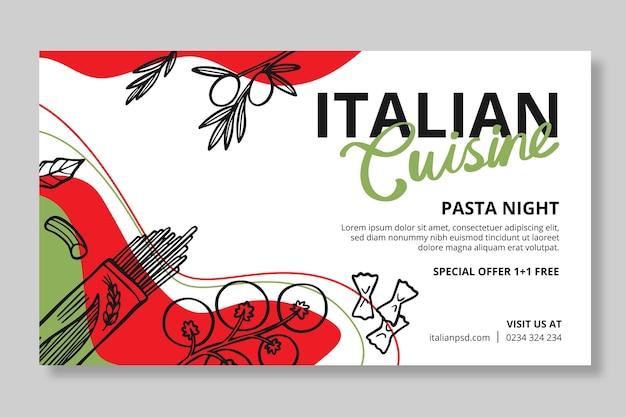 Sjabloon voor horizontaal eten voor italiaans eten