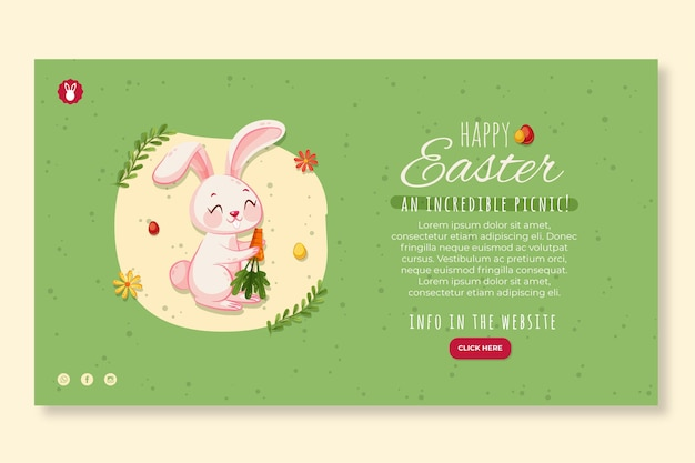 Sjabloon voor horizontaal spandoek voor pasen met konijn en wortel