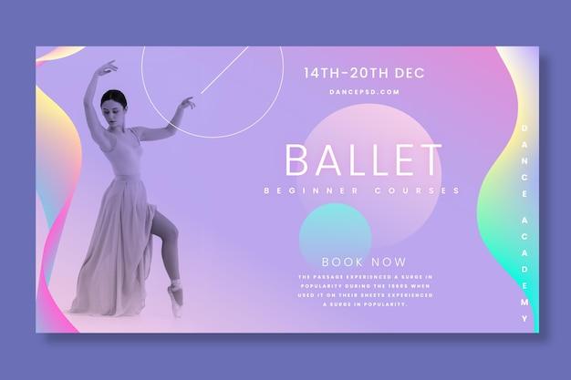 Sjabloon voor horizontale banner van balletdanseres