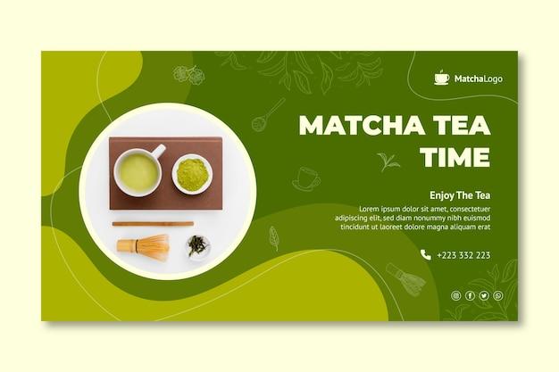 Sjabloon voor horizontale banner van matcha-thee