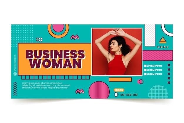 Sjabloon voor horizontale banner voor zakenvrouw