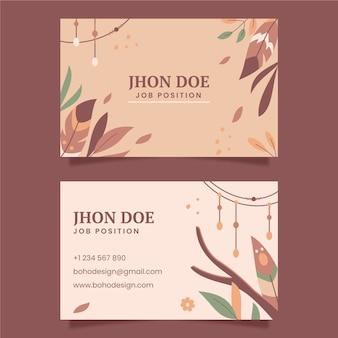 Sjabloon voor horizontale boho-visitekaartjes