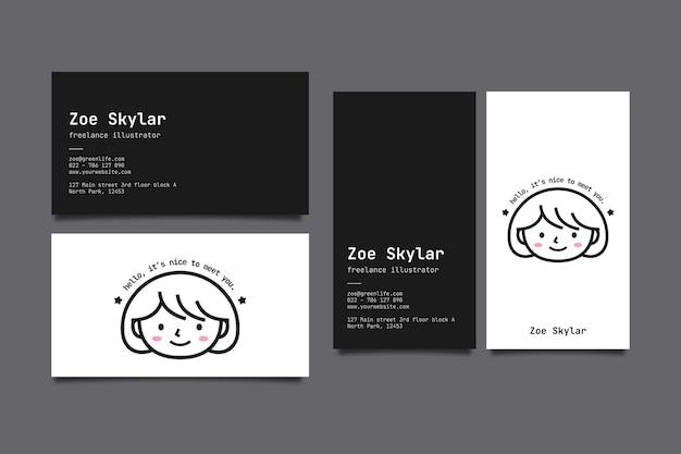 Sjabloon voor horizontale en verticale visitekaartjes met avatar
