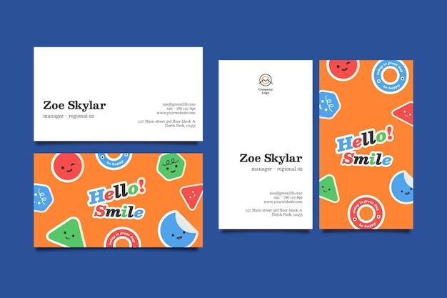 Sjabloon voor horizontale en verticale visitekaartjes met smileygezicht