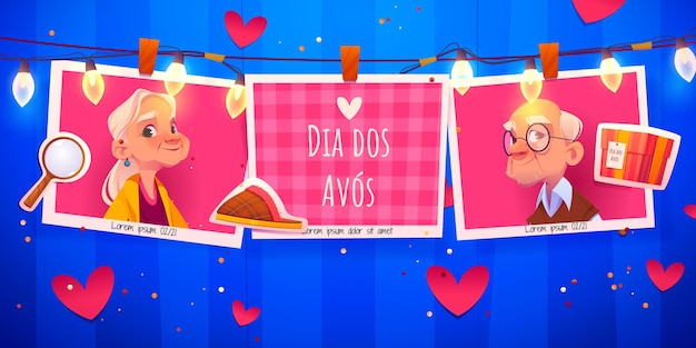Sjabloon voor horizontale spandoek cartoon dia dos avos