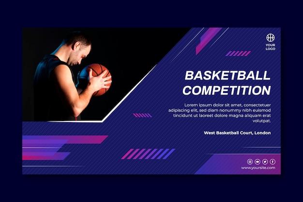 Sjabloon voor horizontale spandoek met mannelijke basketbalspeler