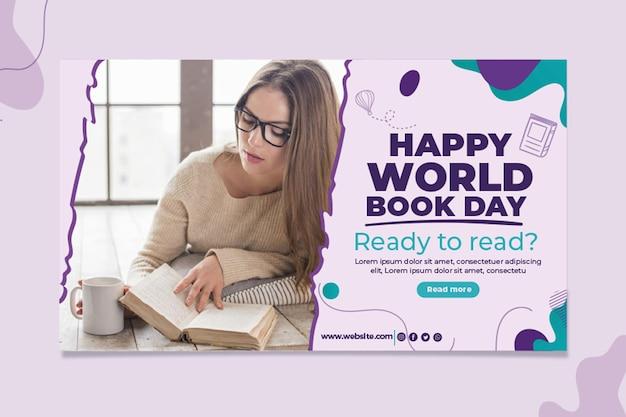 Sjabloon voor horizontale spandoek van de dag van het wereldboek