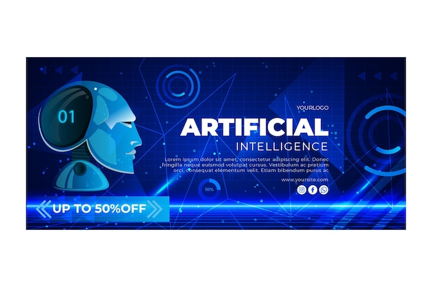 Sjabloon voor horizontale spandoek van kunstmatige intelligentie