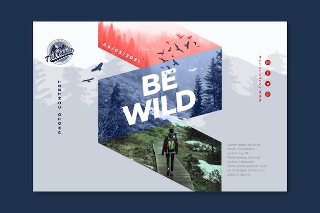 Sjabloon voor horizontale spandoek van wilde natuur