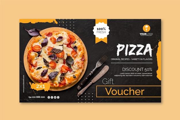 Sjabloon voor horizontale spandoek voor pizzarestaurant