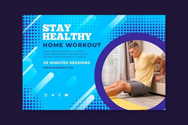 Sjabloon voor horizontale spandoek voor sport thuis met mannelijke atleet