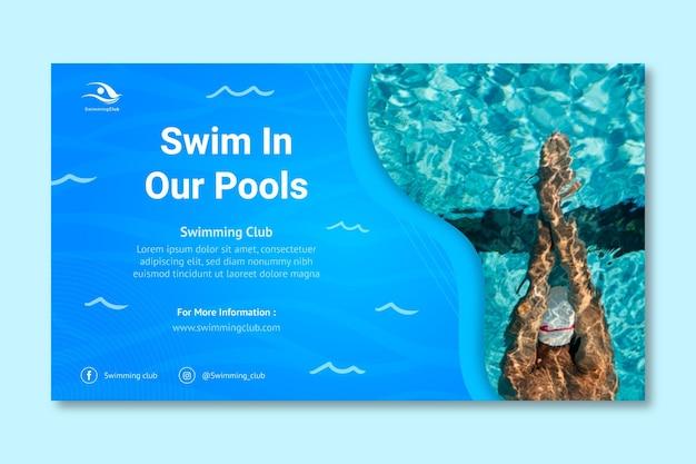 Sjabloon voor horizontale spandoek zwemmen Premium Vector