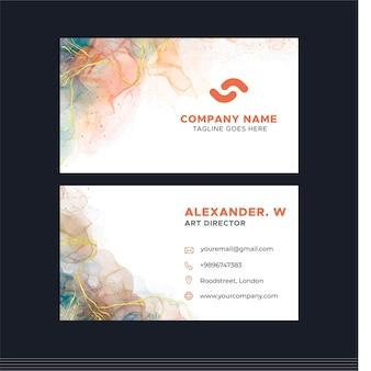 Sjabloon voor horizontale visitekaartjes met aquarelalcoholinkt