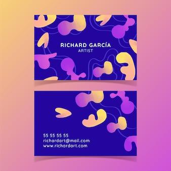 Sjabloon voor horizontale visitekaartjes van aquarel abstracte vormen