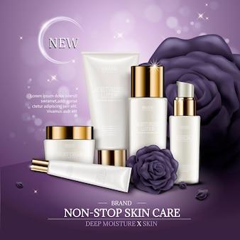 Sjabloon voor huidverzorgingsadvertenties, witte cosmetische container met paarse rozen en bokehachtergrond, 3d illustratie