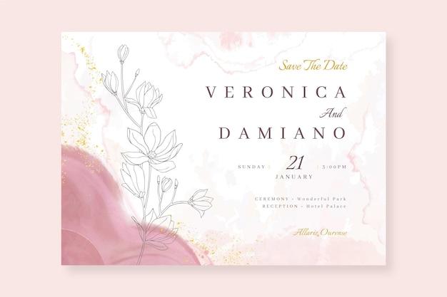Sjabloon voor huwelijksuitnodiging met aquarel alcoholinkt