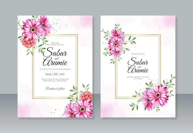 Sjabloon voor huwelijksuitnodiging met aquarel bloemen