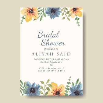 Sjabloon voor huwelijksuitnodiging met aquarel bloemenrand