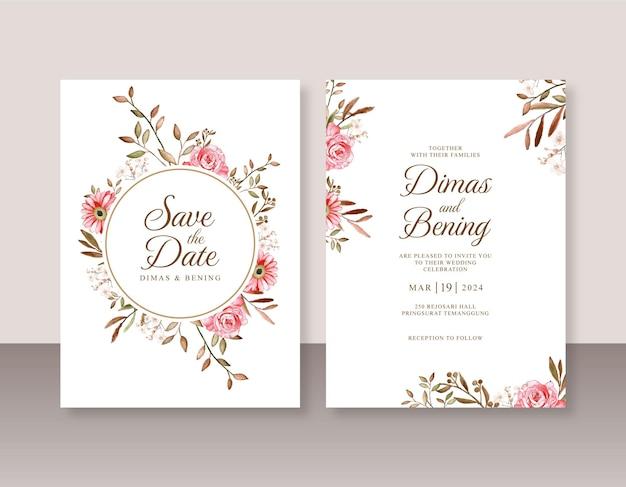Sjabloon voor huwelijksuitnodiging met bloemenwaterverf