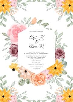 Sjabloon voor huwelijksuitnodiging met bloemkader