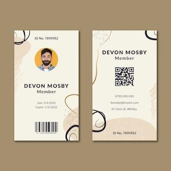 Sjabloon voor identiteitskaart voor brunchleden