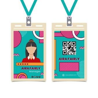 Sjabloon voor identiteitskaart voor zakenvrouw