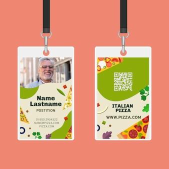 Sjabloon voor identiteitskaarten voor italiaans eten