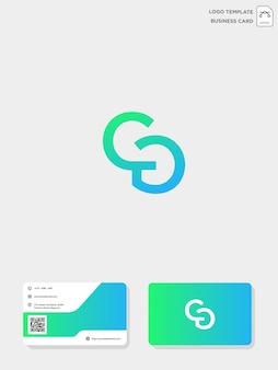 Sjabloon voor initial cg of gc creative logo en visitekaartjes