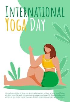 Sjabloon voor internationale yogadag. actieve en gezonde levensstijl.
