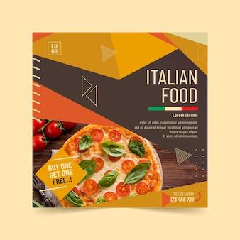 Sjabloon voor italiaans eten kwadraat flyer