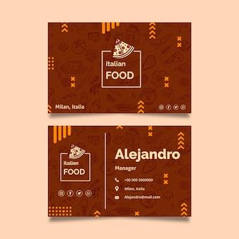 Sjabloon voor italiaans eten visitekaartjes
