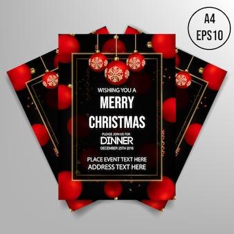 Sjabloon voor kerstdiner flyer