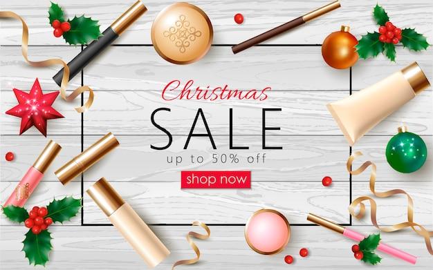 Sjabloon voor kerstmis cosmetische verkoop 3d realistische webbanner. vrouwelijke make-up pakket nieuwjaar