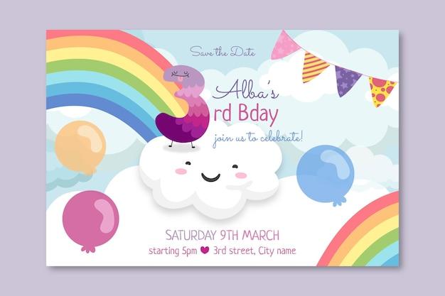 Sjabloon voor kinder verjaardag horizontale spandoek