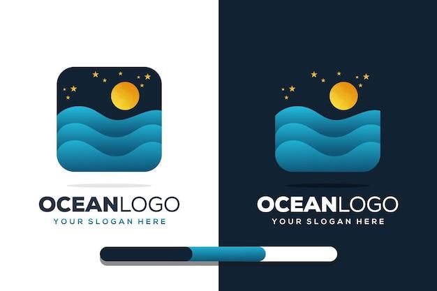 Sjabloon voor kleurrijk oceaanlogo