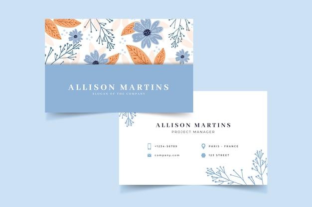 Sjabloon voor kleurrijke bloemen visitekaartjes