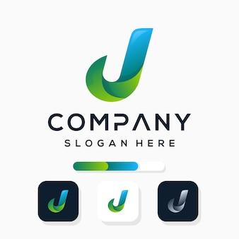 Sjabloon voor kleurrijke letter j-logo