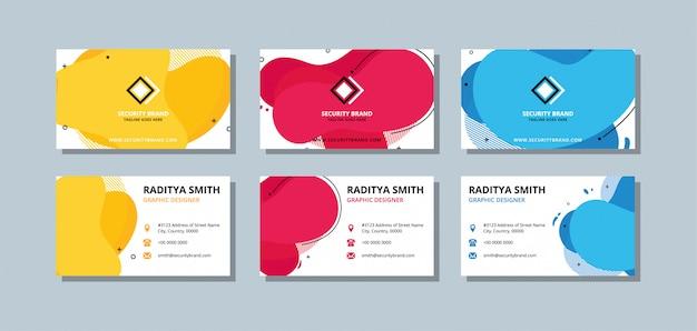 Sjabloon voor kleurrijke visitekaartjes met egale kleur en overlay golven.