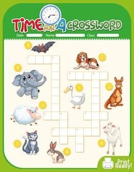 Sjabloon voor kruiswoordpuzzels over dieren Gratis Vector