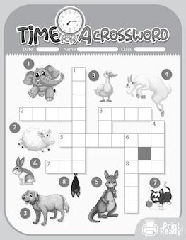 Sjabloon voor kruiswoordpuzzels over dieren
