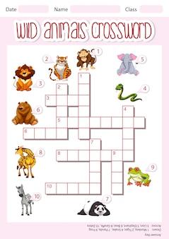Sjabloon voor kruiswoordpuzzels voor wilde dieren