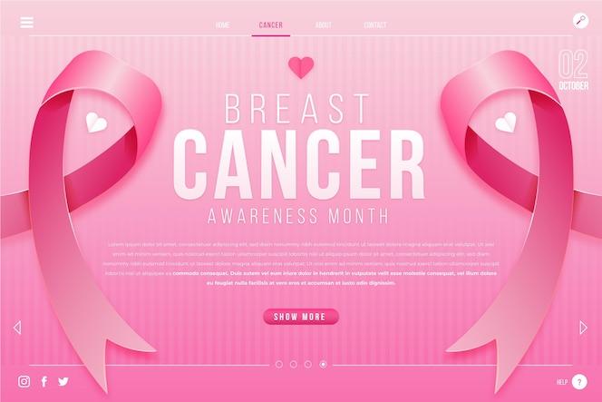 Sjabloon voor landingspagina's met gradiënt voor borstkankerbewustzijn