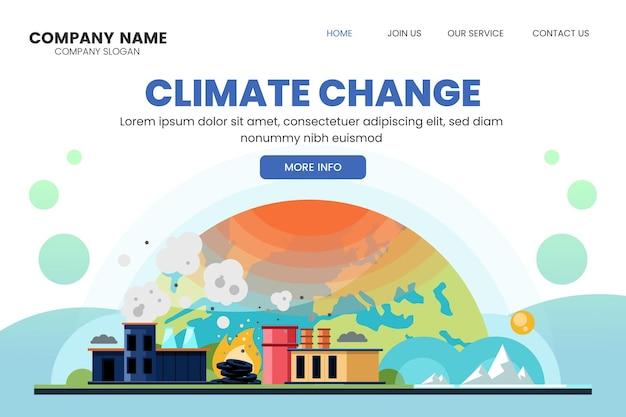 Sjabloon voor landingspagina's met verloop van klimaatverandering
