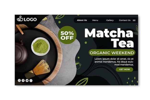 Sjabloon voor landingspagina's van matcha-thee