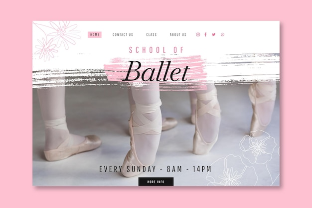 Sjabloon voor landingspagina van dansend ballet
