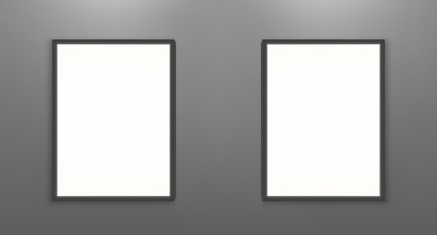 Sjabloon voor lege filmposters. witte fotolijsten