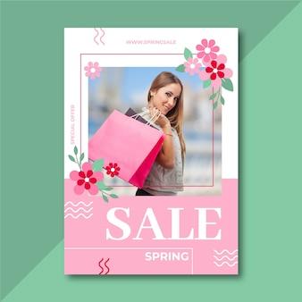 Sjabloon voor lente verkoop flyer met foto