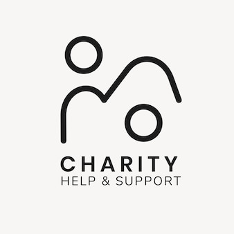 Sjabloon voor liefdadigheidslogo, non-profit branding ontwerpvector, help & ondersteuningstekst