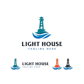 Sjabloon voor light house mercusuar-logo